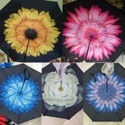 Зонт наоборот, умный зонт трость 8 клиньев, ручка петля, и детские