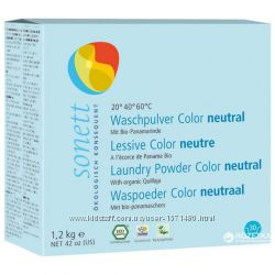 Sonett органический стиральный порошок для цветных тканей. 1, 2 кг. Нейтраль