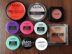 NYX тени, румяна, хайлайтер, помада, карандаш для губ