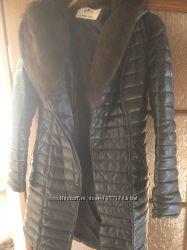 Кожаное пальто-пуховик с норкой