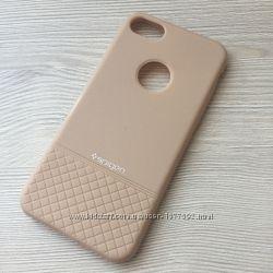 Бежевый чехол Spigen для iphone 7 8 силиконовый