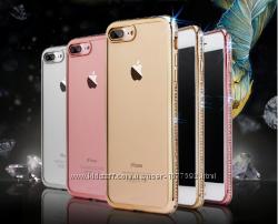 Силиконовый прозрачный чехол с камнями для Iphone 6 6s7 7pl 8 8pl