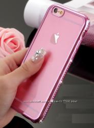 Силиконовый прозрачный чехол срозовыми камнями Сваровски для Iphone 6 6S