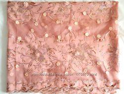 Шикарная ткань на платье материал розовый крем пудра сетка шёлк цветы