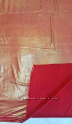 Ткань материал трикотин вишнёвый красный перламутр золотистый отрез
