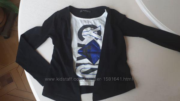 Реглан Terranova, 4-5 лет, 104-110 см, 2 в 1, черный, кофта, длинный рукав,
