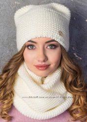 Женская зимняя шапка на флисе с ушками, шарф-хотум