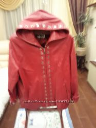 Кожаная женская красная куртка 52 раз.