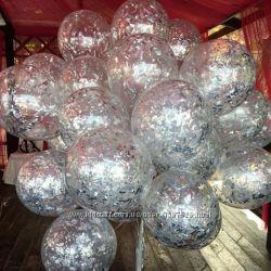 Конфетти кружочки для воздушных и гелиевых шариков мишура для шаров