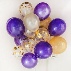 Шарики латексные набор 20 шт воздушные шары надувные Gemar черные 26см