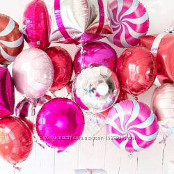 Шары круги фольгированные на праздник шарики круглые из фольги леденцы