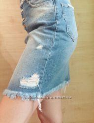 Юбка джинсовая Турция с рванкой и бахромой