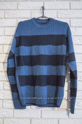 Свитер мужской полосатый синий Турция