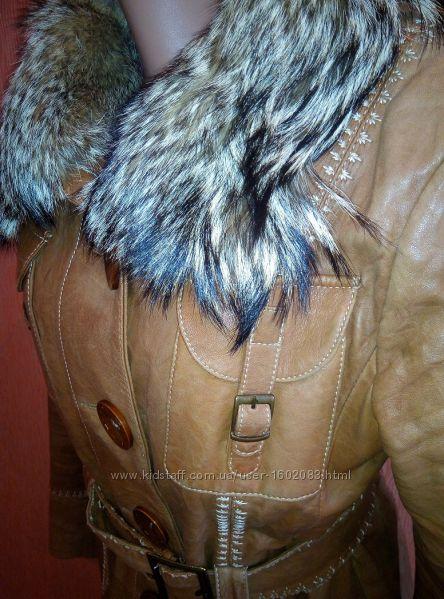Куртка кожаная, классика, съёмный воротник