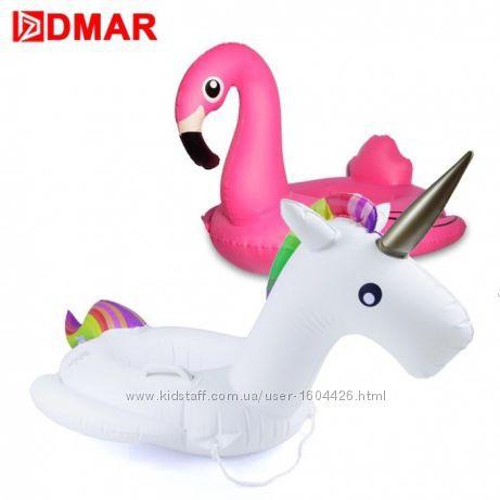 Детский надувной круг Фламинго , Единорог с ручками , пончик Donuts