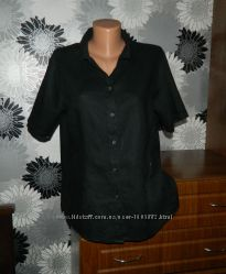 Блуза черная с вышивкой лен Германия XL XXL 18 50 52