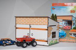 Деревянный игрушечный гараж
