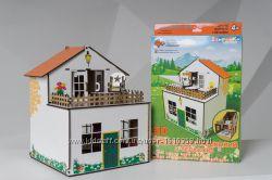 Кукольный деревянный домик с террасой