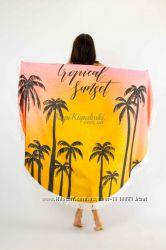 Покрывало пляжное круглое пальмы закат. Подстилка Коврик Полотенце