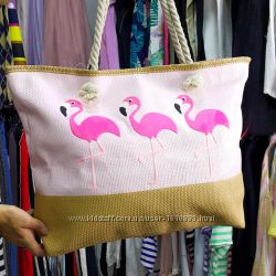 Пляжная сумка. Летняя сумка. Сумка с розовым фламинго.