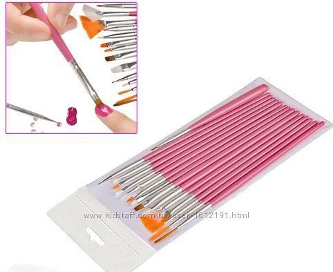 Кисти для маникюра 15 шт для ногтей нанесения гель лак акрил белый