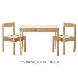 ИКЕА ЛАТТ Стол детский с 2 стульями, сосна