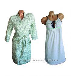 Набор теплый халат и ночная рубашка Лайм