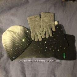 Набор шапка, шарф, перчатки Benetton для девочки