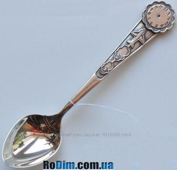 Именная серебряная детская ложка с гравировкой метрики Самолетик