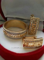 Женский набор  из  медицинского золото  шикарные серьги и    кольцо   разме