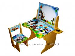 Детская парта , стол растущая со стульчиком с мольбертом . Много видов