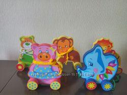Деревянная каталка игрушка для малышей