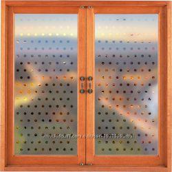 Наклейка на окно, стекло В горошек под пескоструй, винил, самоклейка