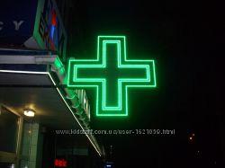 Акция Светодиодный аптечный крест односторонний 640х640 мм