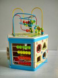 Куб развивающий - лабиринт, шестеренки, сортер, часы, счеты