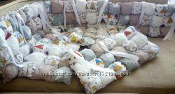 Бортики на детскую кроватку в стиле бомбон, бортики бомбон
