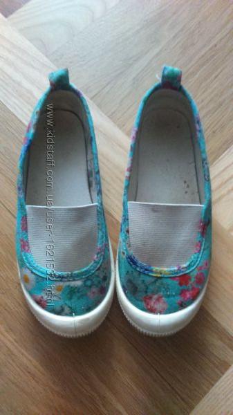 Продам слипоны макасины HM для девочки берюза с цветами Розмер 28