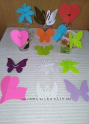 Украшения на бокалы , бумага картон, на свадьбы торжества детский праздник