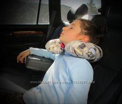 Детская дорожная махровая подушка подкова подголовник валик рогалик