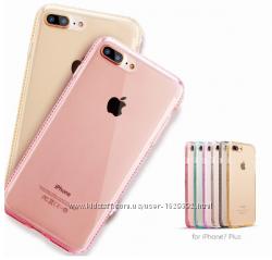Силиконовый золотой чехол с камнями Сваровски для Iphone 7 Plus 8 Plus