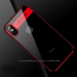 Чехол для Apple iPhone X-10 5. 8 Auto Focus с красным ободом