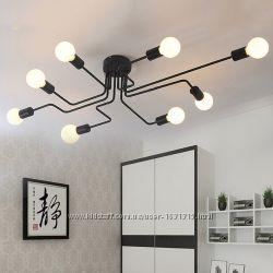Люстра Паук металлическая 8 ламп, LOFT
