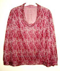 Кофта кофточка блузон бордовый вишнёвый серый серебристый трикотажный р52