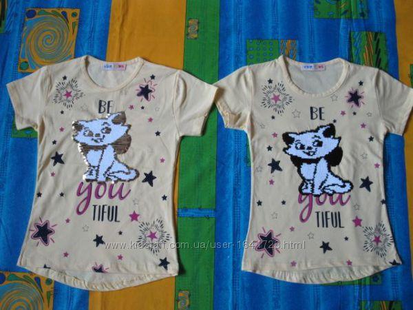 Туника - футболка на девочку 116 - 140 см с котиком из паеток меняющих цвет