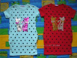 Платья для девочек рост 116 - 152 см хлопковые, с пайетками меняющими цвет