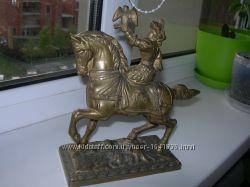 Сокольничий на коне, статуэтка, бронза, Франция, старинная