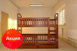 Акция Новая детская двухъярусная кровать Карина Люкс дерево есть матрасы