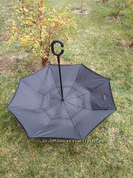 Однотонный зонт трость обратного сложения антизонт наоборот оригинал черный