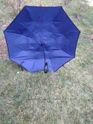 Однотонный зонт трость обратного сложения антизонт наоборот оригинал синий