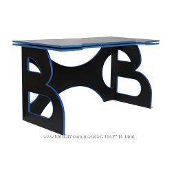 Крутой игровой стол геймерский Barsky HG-04 чёрный с синей кромкой